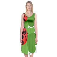 Insect Flower Floral Animals Green Red Midi Sleeveless Dress