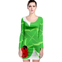 Insect Flower Floral Animals Green Red Line Long Sleeve Bodycon Dress