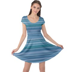 Horizontal Line Blue Cap Sleeve Dresses by Mariart