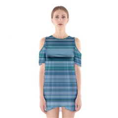 Horizontal Line Blue Shoulder Cutout One Piece by Mariart