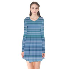 Horizontal Line Blue Flare Dress by Mariart