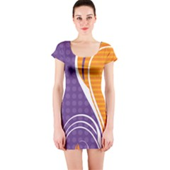 Leaf Polka Dot Purple Orange Short Sleeve Bodycon Dress by Mariart