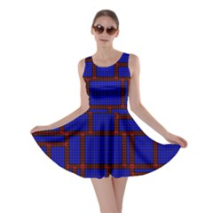 Line Plaid Red Blue Skater Dress by Mariart