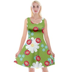 Insect Flower Floral Animals Star Green Red Sunflower Reversible Velvet Sleeveless Dress by Mariart