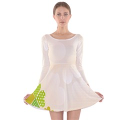 Leaf Polka Dot Green Flower Star Long Sleeve Velvet Skater Dress by Mariart