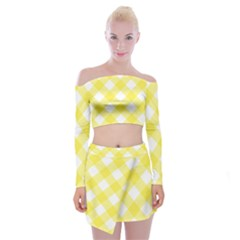 Plaid Chevron Yellow White Wave Off Shoulder Top With Skirt Set by Mariart