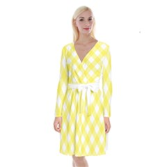 Plaid Chevron Yellow White Wave Long Sleeve Velvet Front Wrap Dress by Mariart