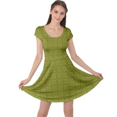 Royal Green Vintage Seamless Flower Floral Cap Sleeve Dresses by Mariart