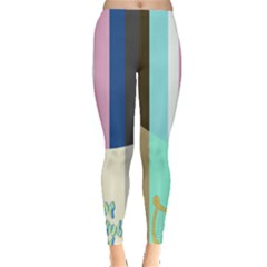 Rainbow Color Line Vertical Rose Bubble Note Carrot Leggings  by Mariart