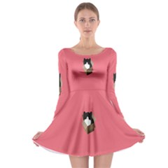 Minimalism Cat Pink Animals Long Sleeve Skater Dress