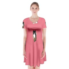 Minimalism Cat Pink Animals Short Sleeve V Neck Flare Dress by Mariart