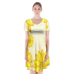 Sunflowers Flower Floral Yellow Short Sleeve V Neck Flare Dress by Mariart