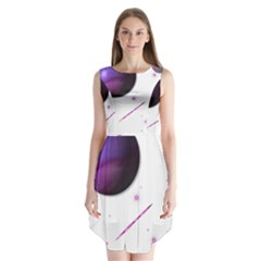 Space Transparent Purple Moon Star Sleeveless Chiffon Dress   by Mariart