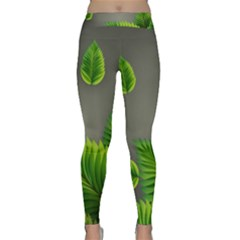Leaf Green Grey Classic Yoga Leggings by Mariart