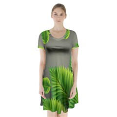 Leaf Green Grey Short Sleeve V Neck Flare Dress by Mariart