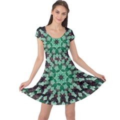 Abstract Green Patterned Wallpaper Background Cap Sleeve Dresses