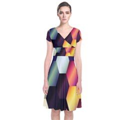 Colorful Hexagon Pattern Short Sleeve Front Wrap Dress by Nexatart