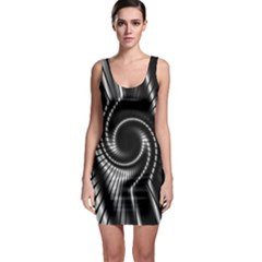 Abstract Background Resembling To Metal Grid Sleeveless Bodycon Dress