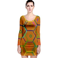 Color Bee Hive Color Bee Hive Pattern Long Sleeve Bodycon Dress