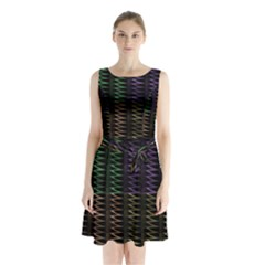 Multicolor Pattern Digital Computer Graphic Sleeveless Chiffon Waist Tie Dress by Nexatart