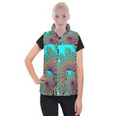 Beautiful Mandala Created With Fractal Forge Women s Button Up Puffer Vest