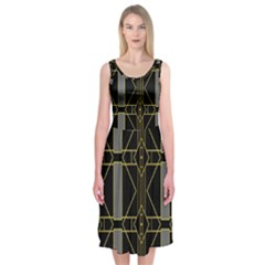 Simple Art Deco Style Art Pattern Midi Sleeveless Dress