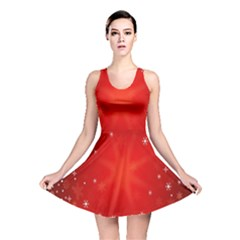 Red Holiday Background Red Abstract With Star Reversible Skater Dress by Nexatart