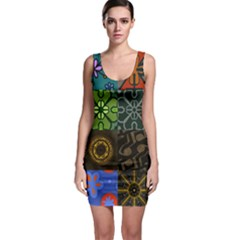 Digitally Created Abstract Patchwork Collage Pattern Sleeveless Bodycon Dress by Nexatart