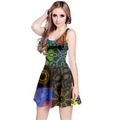 Digitally Created Abstract Patchwork Collage Pattern Reversible Sleeveless Dress by Nexatart