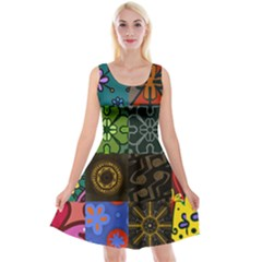 Digitally Created Abstract Patchwork Collage Pattern Reversible Velvet Sleeveless Dress by Nexatart