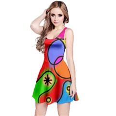Digitally Painted Patchwork Shapes With Bold Colours Reversible Sleeveless Dress by Nexatart