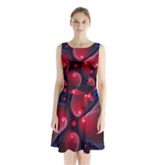 Color Fractal Pattern Sleeveless Chiffon Waist Tie Dress by Nexatart