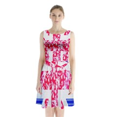 British Flag Abstract British Union Jack Flag In Abstract Design With Flowers Sleeveless Chiffon Waist Tie Dress by Nexatart