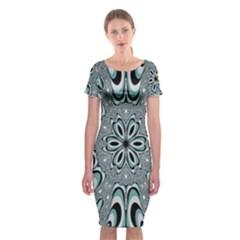 Kaleidoskope Digital Computer Graphic Classic Short Sleeve Midi Dress by Nexatart