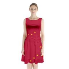 Alaska Star Red Yellow Sleeveless Chiffon Waist Tie Dress by Jojostore