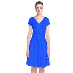 Plain Blue Short Sleeve Front Wrap Dress by Jojostore
