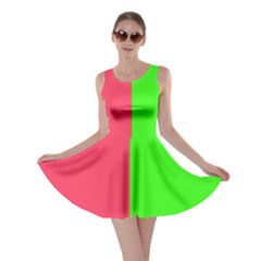 Neon Red Green Skater Dress