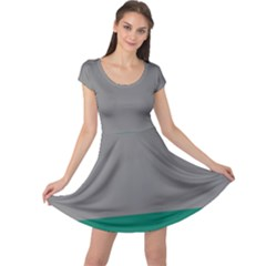 Trolley Grey Green Tropical Cap Sleeve Dresses