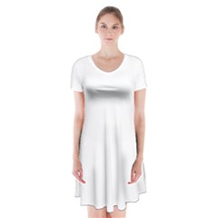 Plain White Short Sleeve V Neck Flare Dress