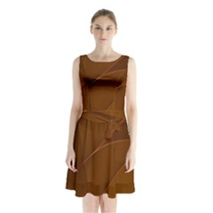 Brown Background Waves Abstract Brown Ribbon Swirling Shapes Sleeveless Chiffon Waist Tie Dress by Nexatart