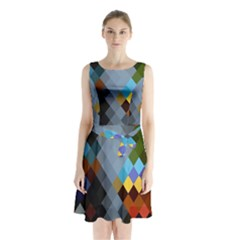 Diamond Abstract Background Background Of Diamonds In Colors Of Orange Yellow Green Blue And More Sleeveless Chiffon Waist Tie Dress by Nexatart