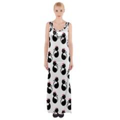 Cat Seamless Animals Pattern Maxi Thigh Split Dress