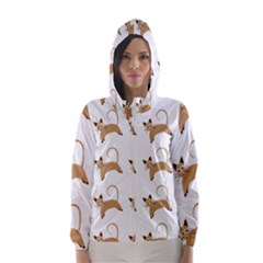 Cute Cats Seamless Wallpaper Background Pattern Hooded Wind Breaker (women)