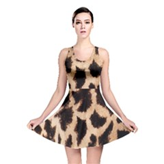 Yellow And Brown Spots On Giraffe Skin Texture Reversible Skater Dress by Nexatart