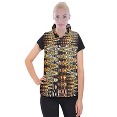 Bright Yellow And Black Abstract Women s Button Up Puffer Vest