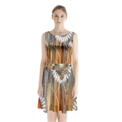 Floral Abstract Pattern Background Sleeveless Chiffon Waist Tie Dress by Nexatart