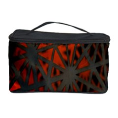 Abstract Lighted Wallpaper Of A Metal Starburst Grid With Orange Back Lighting Cosmetic Storage Case