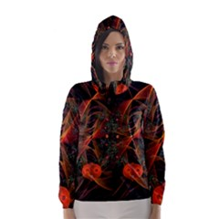 Fractal Wallpaper With Dancing Planets On Black Background Hooded Wind Breaker (women) by Nexatart