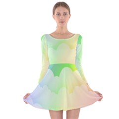 Cloud Blue Sky Rainbow Pink Yellow Green Red White Wave Long Sleeve Velvet Skater Dress by Mariart