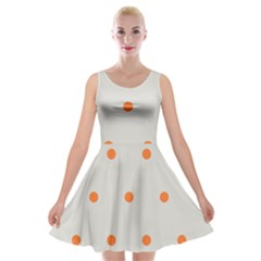 Diamond Polka Dot Grey Orange Circle Spot Velvet Skater Dress by Mariart